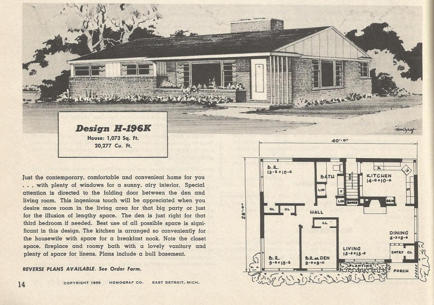 House Floorpans: 1950s-1960s - Architecture & Design